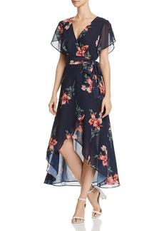 AQUA Floral High/Low Faux-Wrap Dress - 100% Exclusive