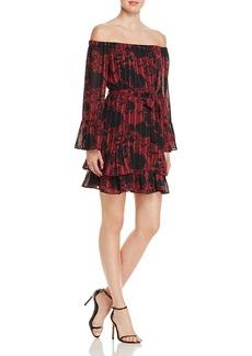 Aqua Floral Off-the-Shoulder Bell Sleeve Dress - 100% Exclusive