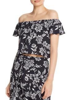AQUA Floral Off-the-Shoulder Cropped Top - 100% Exclusive