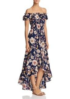 AQUA Floral Off-the-Shoulder Maxi Dress - 100% Exclusive