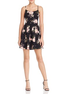 AQUA Floral Pleated Fit-and-Flare Dress - 100% Exclusive