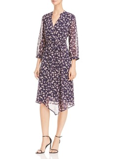 AQUA Floral Print Asymmetric Wrap Dress - 100% Exclusive