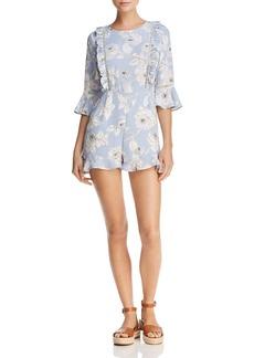 AQUA Floral Print Bell Sleeve Romper - 100% Exclusive