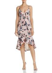 AQUA Floral Print Flounced-Hem Dress - 100% Exclusive