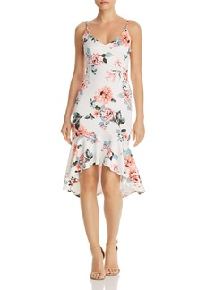 AQUA Floral Print Flounced-Hem Dress - 100% Exclusive