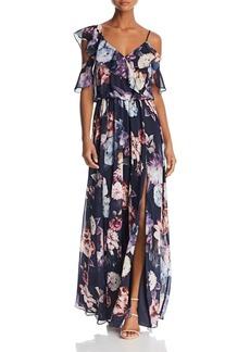 AQUA Floral-Print Ruffle Gown - 100% Exclusive