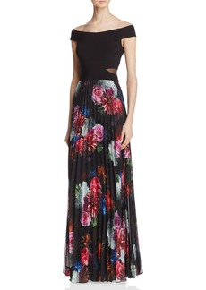 AQUA Floral Print-Skirt Off-The-Shoulder Gown - 100% Exclusive