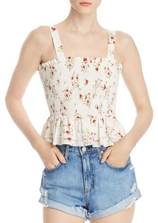 AQUA Floral-Print Smocked Top - 100% Exclusive