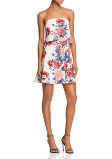 AQUA Floral Print Strapless Dress - 100% Exclusive