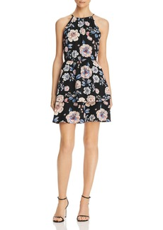 AQUA Floral Print Tiered Dress - 100% Exclusive