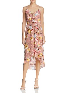 AQUA Floral Ruffle Faux-Wrap Dress - 100% Exclusive
