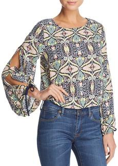 AQUA Floral Tie Sleeve Blouse - 100% Exclusive