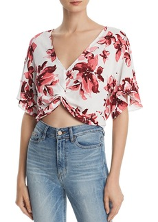 AQUA Floral Twist-Front Cropped Top - 100% Exclusive