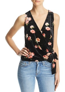 AQUA Floral Velvet Sleeveless Wrap Top - 100% Exclusive