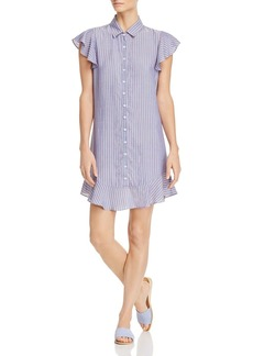 AQUA Flounce-Hem Striped Shirt Dress - 100% Exclusive