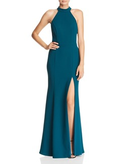 AQUA Fluted Crepe Gown - 100% Exclusive