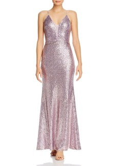 AQUA Fluted Sequin Gown - 100% Exclusive