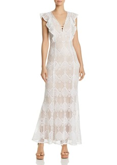 AQUA Flutter-Sleeve Lace Maxi Dress - 100% Exclusive