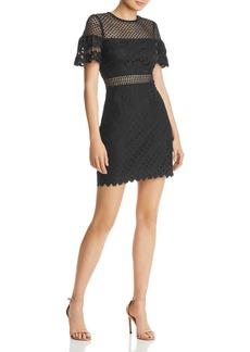 AQUA Flutter-Sleeve Lace Sheath Dress