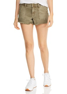 AQUA Frayed Denim Cargo Shorts in Olive - 100% Exclusive