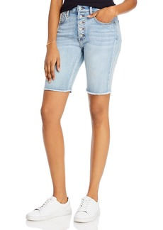 AQUA Frayed Hem Button-Fly Bermuda Jean Shorts in Medium Wash - 100% Exclusive