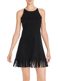AQUA Fringed Faux-Suede Shift Dress - 100% Exclusive