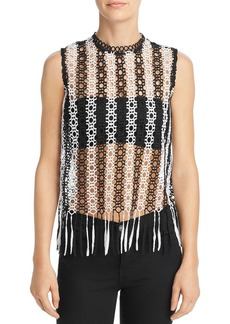 AQUA Fringed Sheer Lace Top - 100% Exclusive