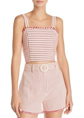 AQUA Fringed Stripe Cropped Top - 100% Exclusive