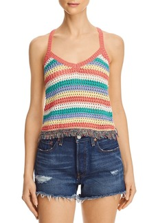 AQUA Fringed Striped-Front Crochet Tank - 100% Exclusive