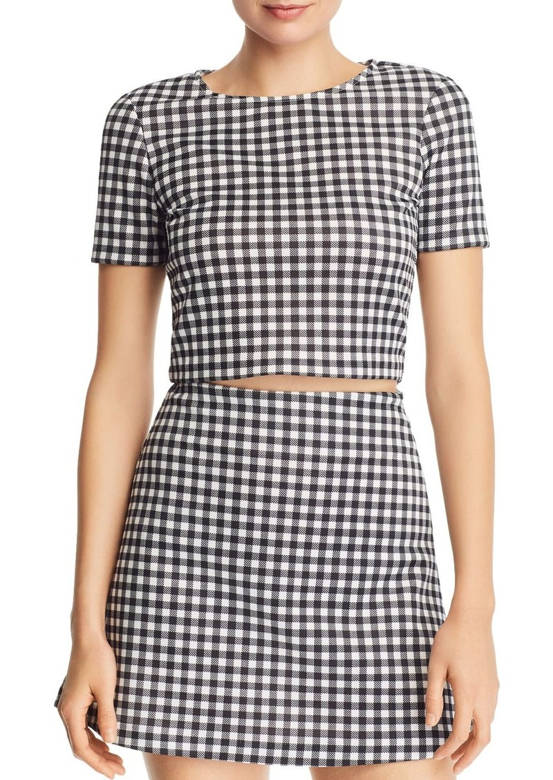 AQUA Gingham Cropped Top - 100% Exclusive