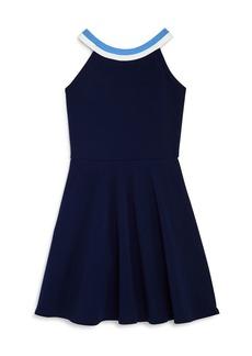 AQUA Girls' Striped Neck Dress Big Kid - 100% Exclusive