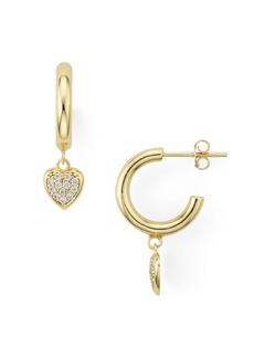 AQUA Heart Charm Huggie Hoop Earrings in 18K Gold-Plated Sterling Silver - 100% Exclusive
