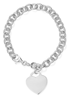 AQUA Heart Charm Link Bracelet in Sterling Silver - 100% Exclusive
