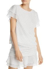 AQUA Heart Print Flutter Sleeve Top - 100% Exclusive