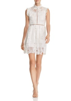 AQUA High-Neck Lace Dress - 100% Exclusive