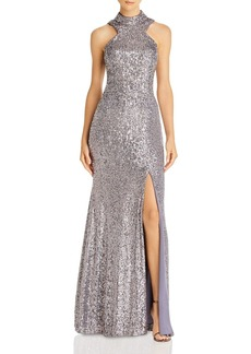 AQUA High-Neck Sequin Open-Back Dress - 100% Exclusive