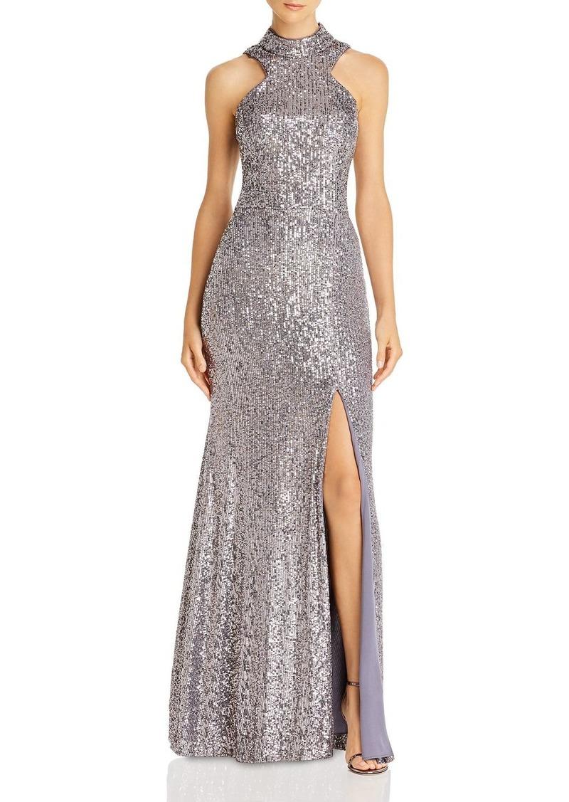 AQUA High-Neck Sequin Open-Back Dress - 100% Exclusive
