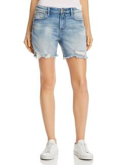 AQUA High-Rise Distressed Denim Shorts in Light Wash - 100% Exclusive