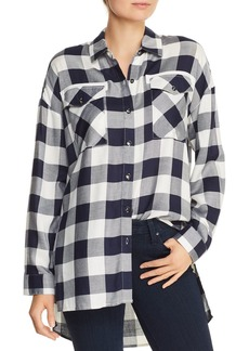 AQUA High/Low Buffalo Plaid Shirt - 100% Exclusive