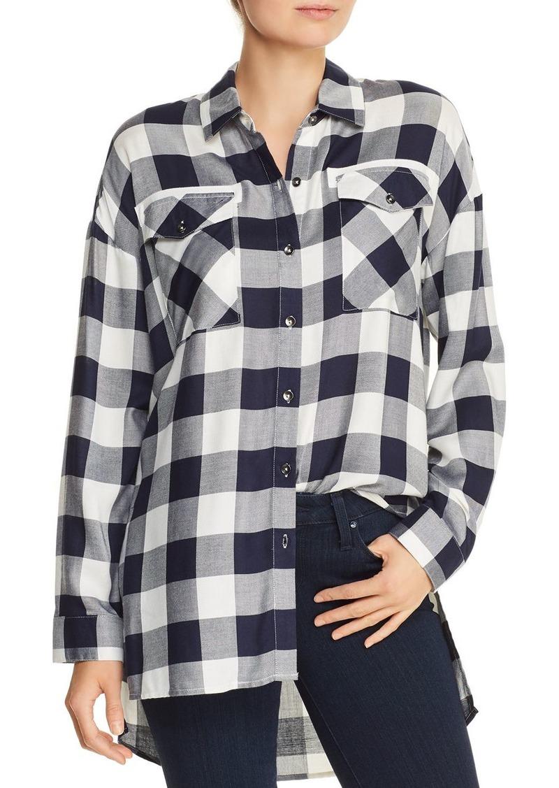 AQUA High/Low Buffalo Plaid Shirt - 100% Exclusive