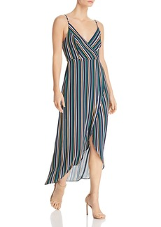 AQUA High/Low Striped Faux-Wrap Dress - 100% Exclusive