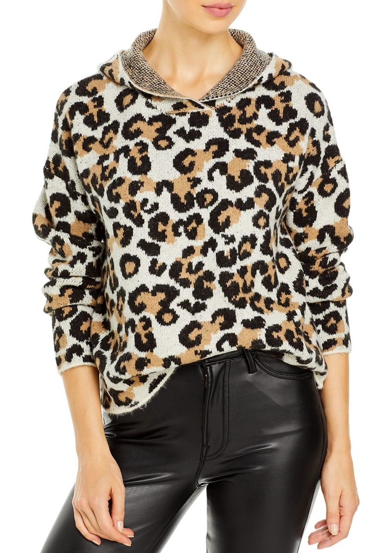 AQUA Hooded Leopard Print Sweater - 100% Exclusive