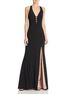AQUA Illusion V-Neck Gown - 100% Exclusive