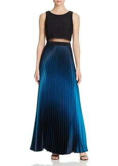 AQUA Illusion Waist Pleated Gown - 100% Exclusive