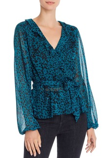 AQUA Jaguar-Print Faux-Wrap Top - 100% Exclusive