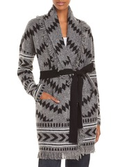 AQUA Knit Belted Fringed Cardigan - 100% Exclusive