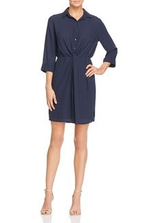 AQUA Knot Front Shirt Dress