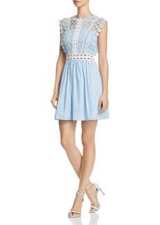 AQUA Lace & Poplin Fit-and-Flare Dress - 100% Exclusive