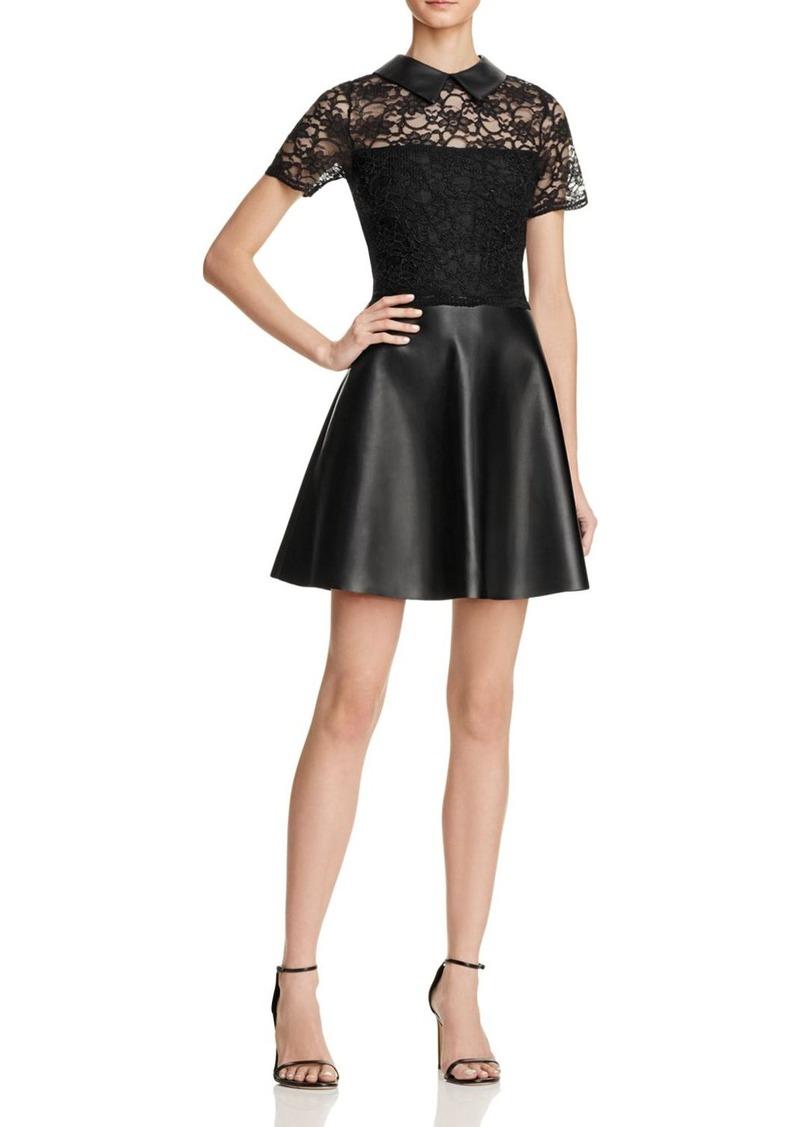 AQUA Lace and Faux Leather Dress