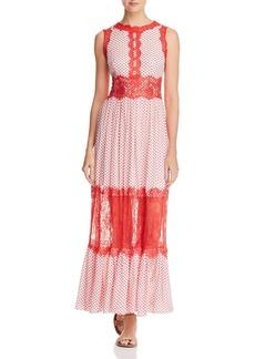 AQUA Lace Appliqu� Polka Dot Maxi Dress - 100% Exclusive